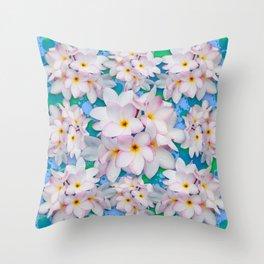 Plumeria Bouquet Exotic Summer Pattern Throw Pillow