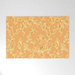 Orange Floral Pattern Welcome Mat