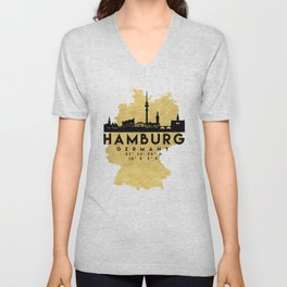 HAMBURG GERMANY SILHOUETTE SKYLINE MAP ART Unisex V-Neck