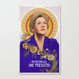 Nevertheless, She Persisted - Elizabeth Warren Art Nouveau Print Canvas Print