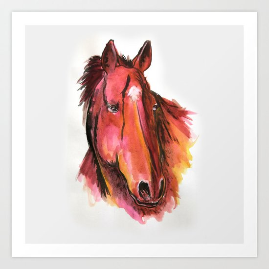 Hand Rendered Horse Art Print