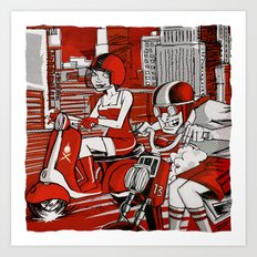 Scootin' Red Remix Art Print