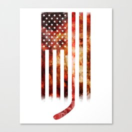 Ice Hockey USA Flag Canvas Print
