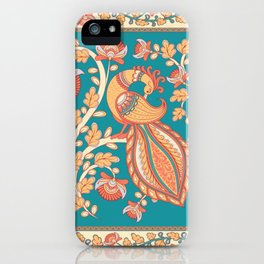 Square composition with a peacock and a flower branch. iPhone Case