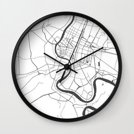 Bangkok Thailand Minimal Street Map - Gray and White Wall Clock