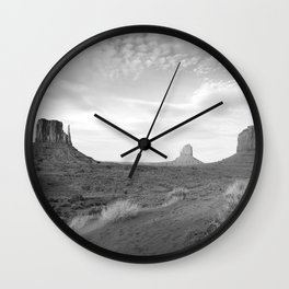 Black and White Monument Valley Wall Clock