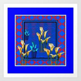 Blue Art White Calla Lilies Red Patterns Art Print
