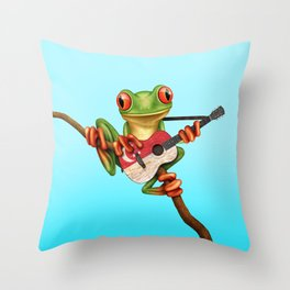 Tree Frog Playing Acoustic Guitar with Flag of Singapore Throw Pillow