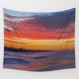 Red Clouds Over Huntington Beach Wall Tapestry
