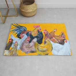 Chickens of Many Colors Rug