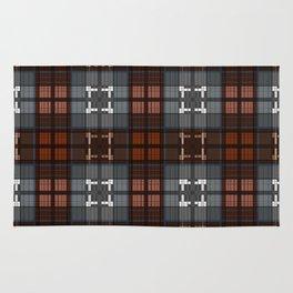Dark black and blue plaid checkered Scandinavian design Rug