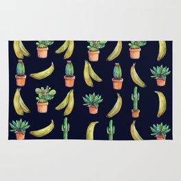 Cactus & Bananas at night Rug