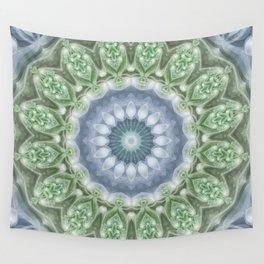 Slate Blue and Green Mandala Wall Tapestry