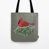 cardinal Tote Bags featuring Cardinal by Sam Magee