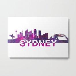 Sydney Skyline Scissor Cut Giant Text Metal Print