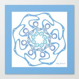 Hope Flower Mandala - Blue Framed Canvas Print