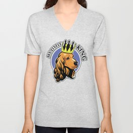 Red cocker spaniel head with crown Unisex V-Neck