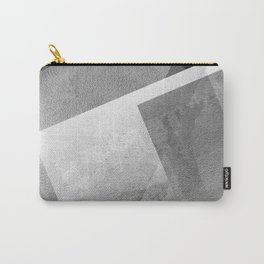 Black and Metallic Silver - Digital Geometric Texture Carry-All Pouch