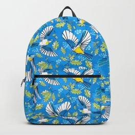 Flying Birds and Oak Leaves on Blue Backpack