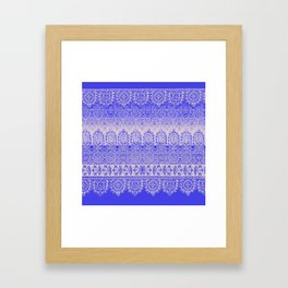 crochet lace mixed in blue Framed Art Print