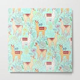 Mexican Llamas on Aqua Metal Print