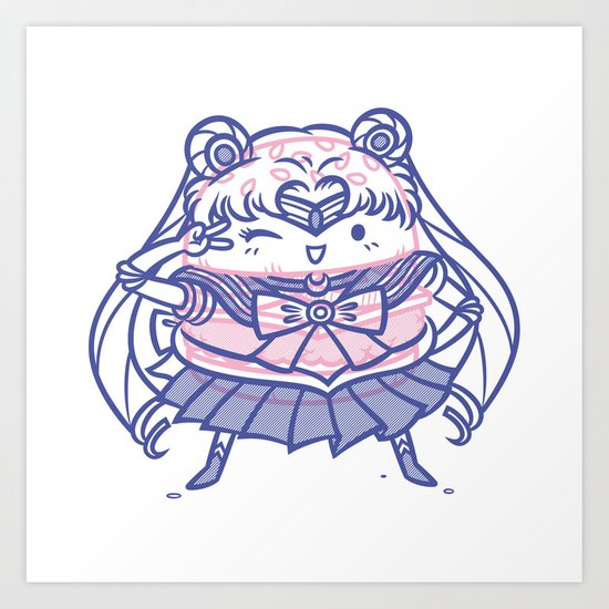 Cheeseburger Sailor Moon Art Print