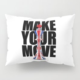 Make Your Move UK / 3D render of chess king with British flag Pillow Sham