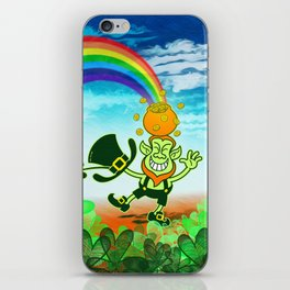 Leprechaun Balancing a Pot of Gold on his Head iPhone Skin