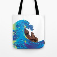 hokusai Tote Bags featuring Hokusai Rainbow & Moai by FACTORIE