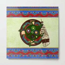 Native American Folk Art Frog Metal Print
