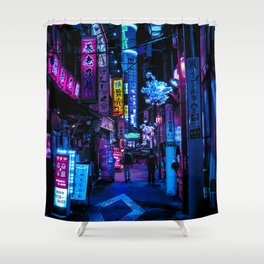 Tokyo's Moody Blue Vibes Shower Curtain