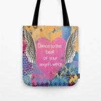 angel wings Tote Bags featuring Angel Wings by Brooke LeAnne