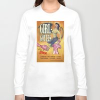 """movie posters Long Sleeve T-shirts featuring """"Girl-Goyles"""" Movie Poster by 7 Hells: Retro Horror art of Bill Rude"""