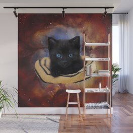 Galaxy Cat and Red Nebula Wall Mural