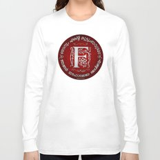 Joshua 24:15 - (Silver on Red) Monogram F Long Sleeve T-shirt