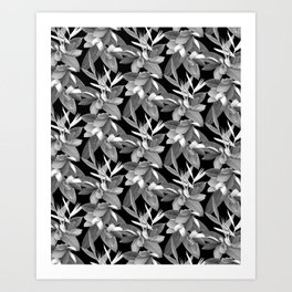Mixed Paradise Tropicals in Black and White Art Print