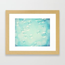 Bubble Photography, Laundry Room Soap Bubbles, Aqua Teal Bathroom Photography Framed Art Print