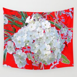 DELICATE RED & WHITE LACE FLORAL Wall Tapestry