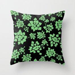 Water caltrop pattern - green Throw Pillow