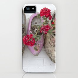 Dutch wooden shoes and geraniums from Marken, Holland iPhone Case