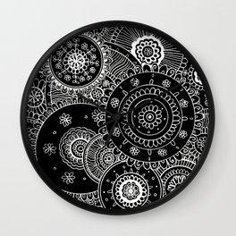 Lacy White Mandalas on Black Wall Clock