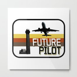 Future Airplane Pilot Metal Print