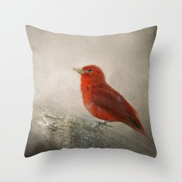 Song of the Summer Tanager 1 - Birds Throw Pillow