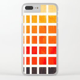 Orange Geometric Pattern Square Matrix Watercolor Art With Black Accent Clear iPhone Case