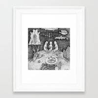 knitting Framed Art Prints featuring Knitting Cats by Ulrika Kestere