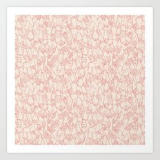 A Plethora of Relaxed Hands in Pink Art Print