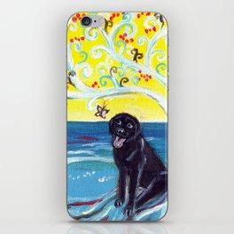 Black Labrador butterfly love art deco tree iPhone Skin