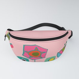 Mid century flowers pink Fanny Pack