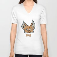 yorkie V-neck T-shirts featuring New Yorkie by Brianna Heyer