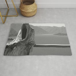 Lake Como, Ghost Sculpture over looking Italian Lake black and white photograph / art photography Rug